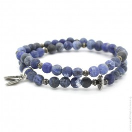 Bracelet double blue jean mat