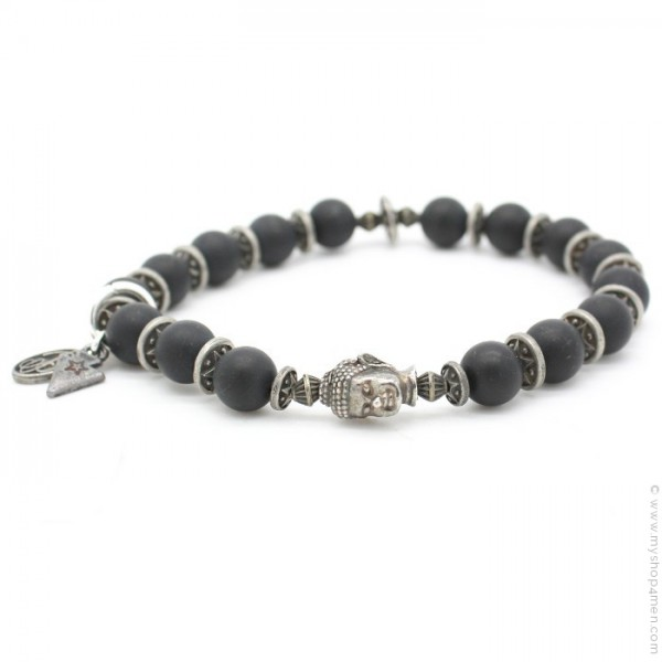 bb matte black beaded bracelet warrior jewelry onyx skull silver