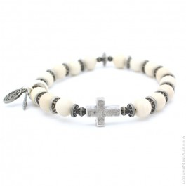 Cross bracelet with river stones