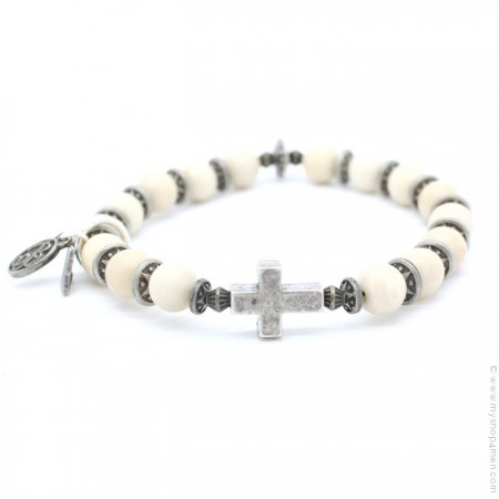 Cross bracelet with river stones