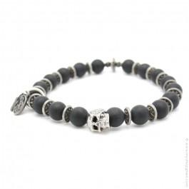 Bracelet tête de mort onyx