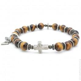 Bracelet croix et onyx et oeil de tigre