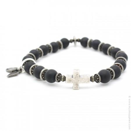 Bracelet croix et onyx