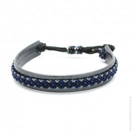 Bracelet cuir et tresse gris bleu