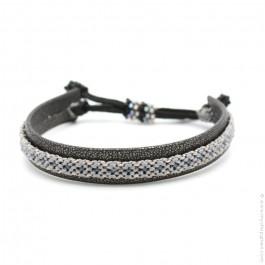 Bracelet cuir et tresse gris clair et gris foncé