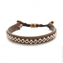 Bracelet cuir et tresse brun et beige