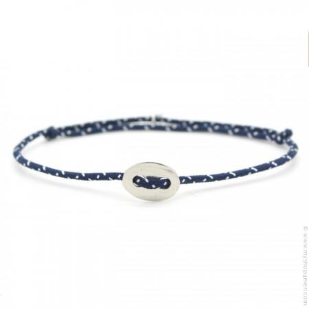Bracelet bouton argent et corde bleu marine et blanc