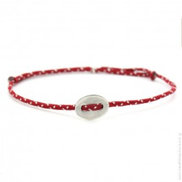 Bracelet bouton argent et corde rouge et blanche