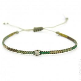Bracelet boho carré kaki vert