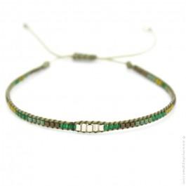 Bracelet boho perles argent taupe et bleu