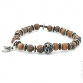 Cross bracelet with old crackle stones