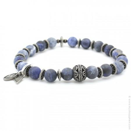 Bracelet perle indienne et blue jean mat
