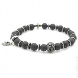 Indian bead bracelet with onyx
