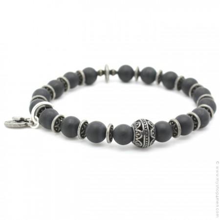 Bracelet perle indienne et onyx