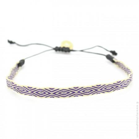 Bracelet Argentinas 120 écru et violet