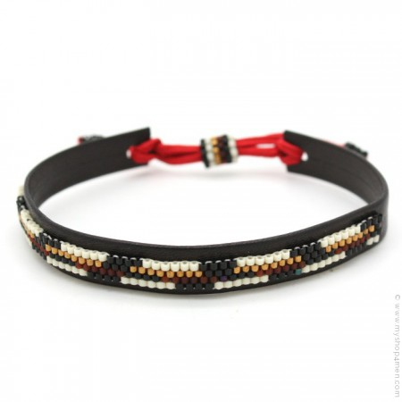 Bracelet cuir et perles crème et brun