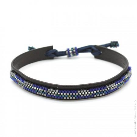 Bracelet cuir et perles bleu gris