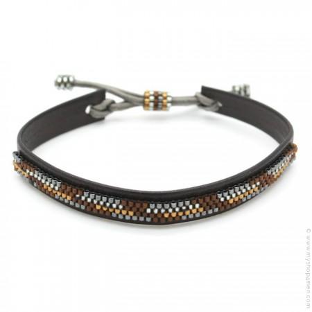 Bracelet cuir et perles bronze et brun