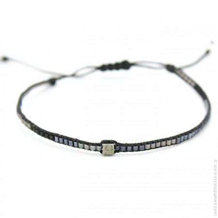 Bracelet boho carré noir