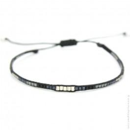 Bracelet boho perles argent kaki