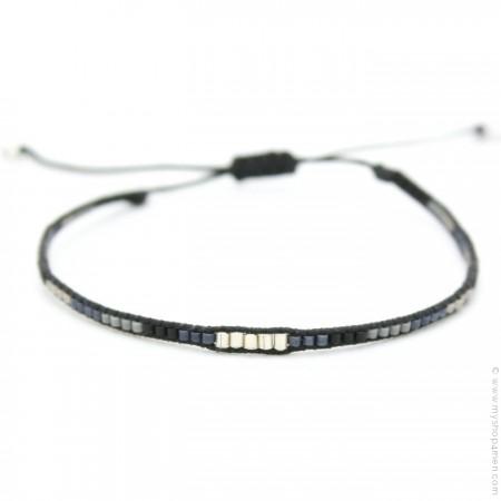 Bracelet boho perles argent noir