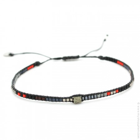 Bracelet boho carré noir et rouge