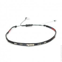 Bracelet boho perles argent noir et rouge