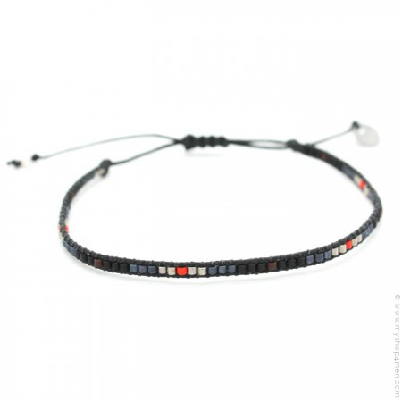 Bracelet boho multi noir et rouge