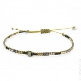 Bracelet boho taupe et bleu Leju