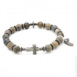 Cross bracelet with earth stones