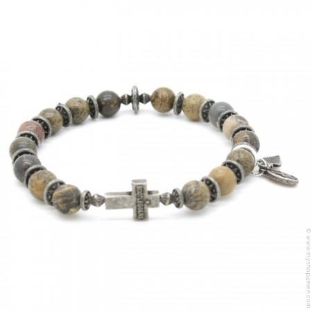 Bracelet croix et earth stone