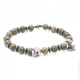 Skull bracelet with black onyx