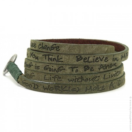 Olive around eco believe you can bracelet