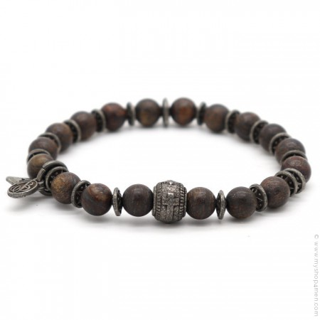 Bracelet Sonora cross bronzite matt