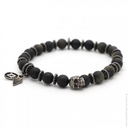 Bracelet Sonora skull obsidian matt