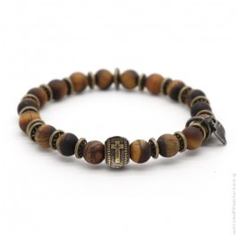 Bracelet Sonora cross tiger eyes mat