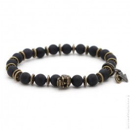 Black matt onyx and skull Sonora bracelet