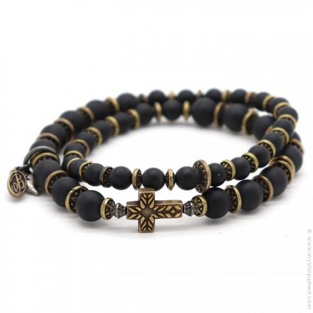 Bracelet Sedona cross black matt onyx