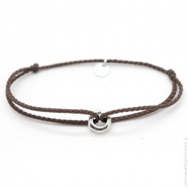 Silver nut bracelet on a brown cord