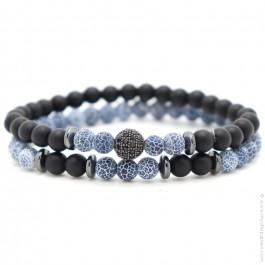 Bracelets blue crackle
