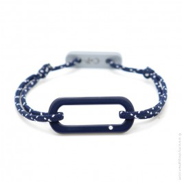 Bracelet oval marine cordon bleu blanc