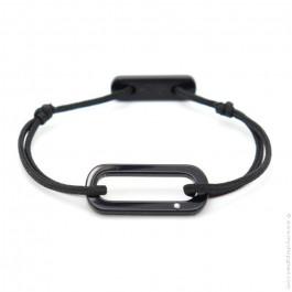 Bracelet oval noir cordon noir