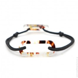 Bracelet oval jungle cordon noir