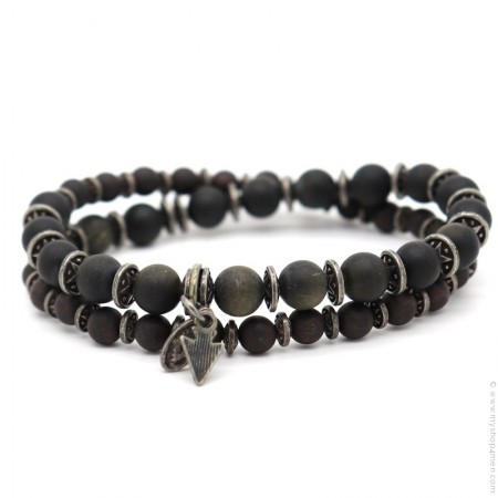 Bracelet Apalache obsidian mat