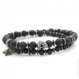 Skull black mat obsidian Apalache bracelet