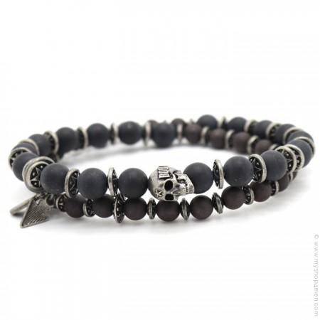 Bracelet Apalache skull black obsidian mat