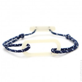 Bracelet oval ivoire cordon bleu blanc