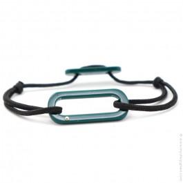 Bracelet oval vert cordon noir