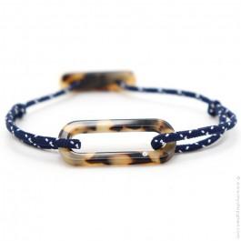 Bracelet oval havane cordon bleu et blanc