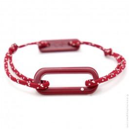 Bracelet oval rouge cordon rouge et blanc